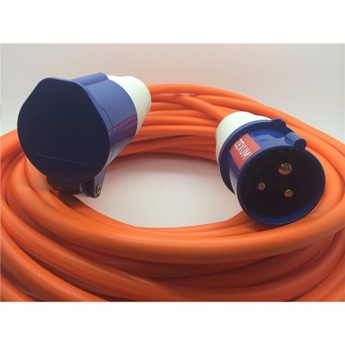 Zexum 16A Orange Male to Female Electric Hook Up Lead 1.5mm 1