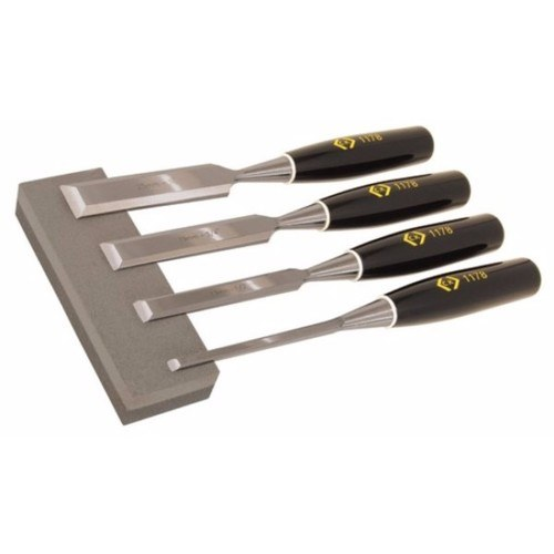 C.K Tools 4 Bevel Edged Wood Chisel Carving Hand Tool Set & Sharpening Stone  - Click to view a larger image