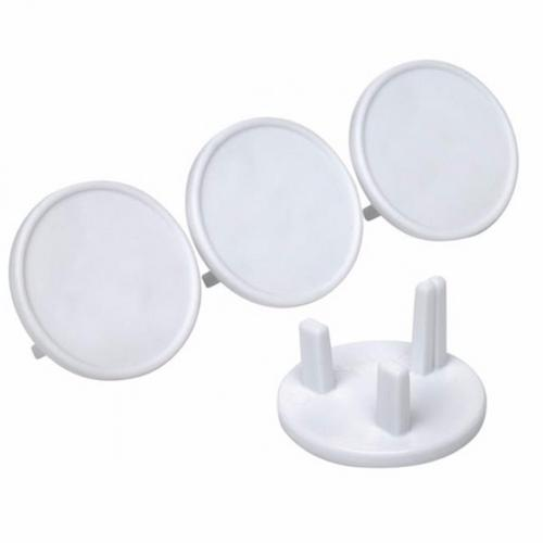 Zexum UK 3 Pin Round Child & Baby Safety Electric Outlet Socket Covers  - Click to view a larger image