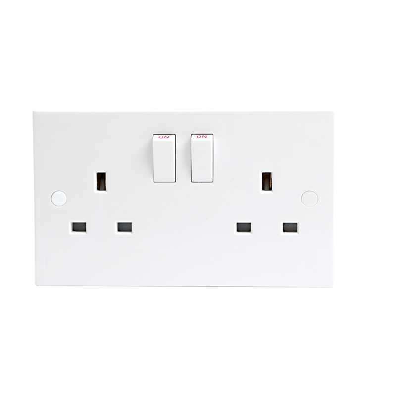 KnightsBridge 13A White Slimline 2G Twin 230V UK 3 Switched Electric Wall Socket 1