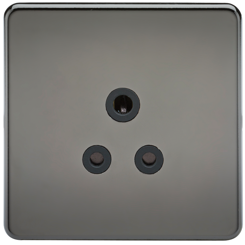 KnightsBridge 1G 5A Screwless Black Nickel Round Pin 230V Unswitched Electrical Wall Socket 1