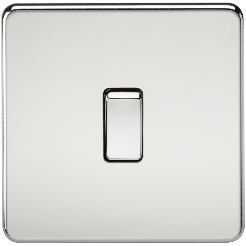 KnightsBridge 10A 1G 230V Screwless Polished Chrome Intermediate Switch Wall Plate 1