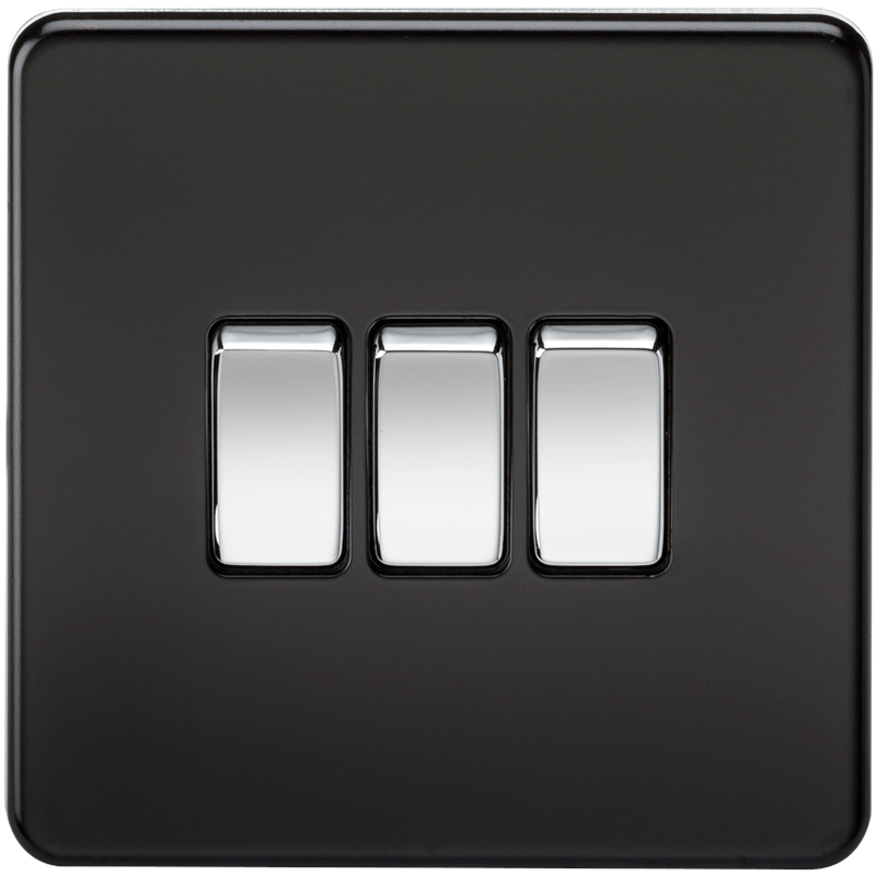 KnightsBridge 10A 3G 2 Way 230V Screwless Matt Black Electric Wall Plate Switch 1