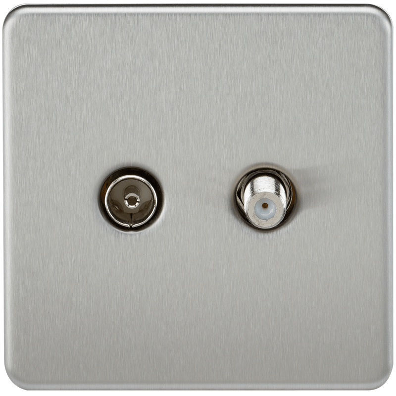 KnightsBridge Coaxial TV and SAT TV Outlet 1G Screwless Brushed Chrome Isolated Wall Plate 1