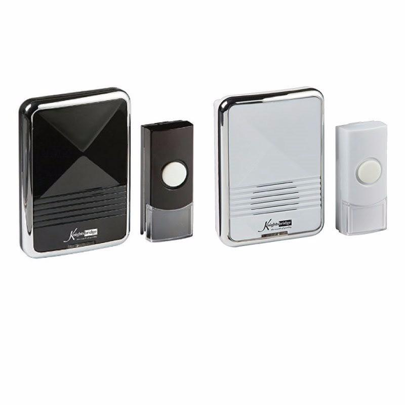 KnightsBridge 80m Range Wireless Plug In Chrome Door Bell Chime & Push 1