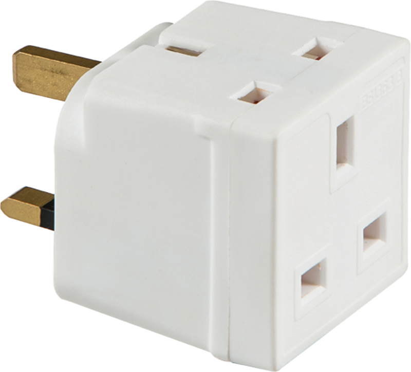 KnightsBridge 13 Amp Two Way Unfused Electrical Three Pin UK Mains Adaptor 1