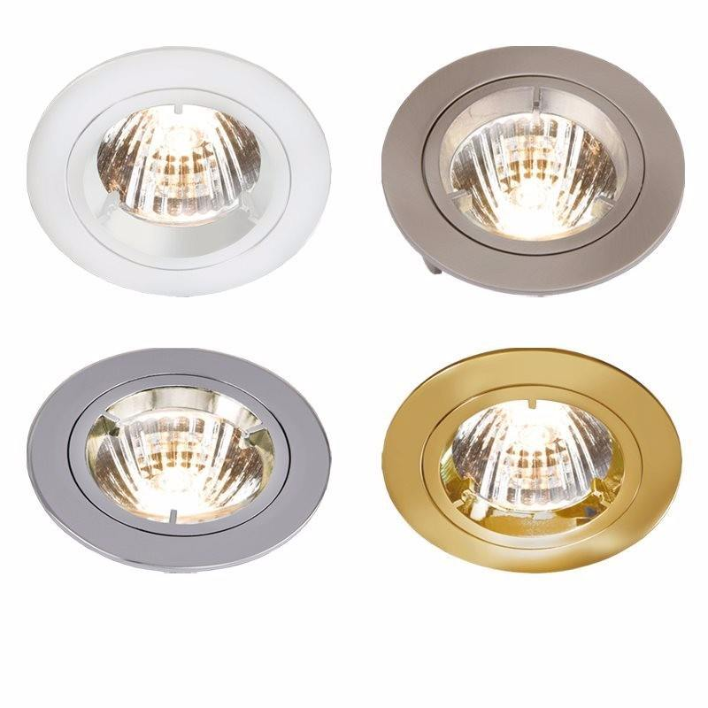 knightsbridge mr16 die cast 50mm 12v low voltage fixed  brushed chrome downlight converter kit