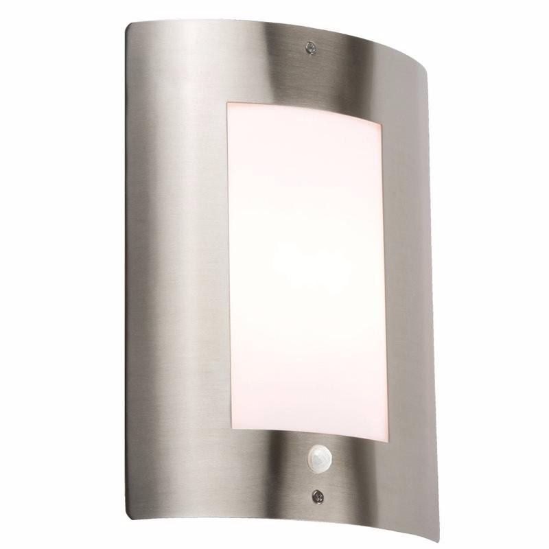 KnightsBridge 40W IP44 Edison Screw (E27) Stainless Steel Outdoor Wall Light with PIR 1