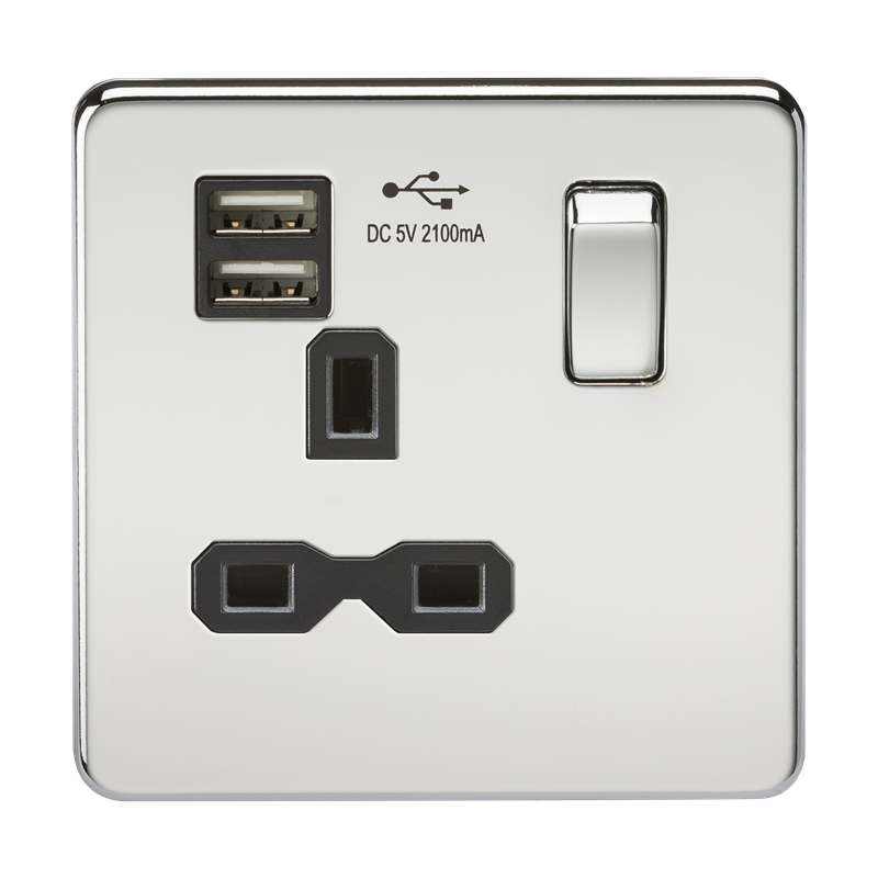 KnightsBridge 13A 1G Screwless Polished Chrome 1G Switched Socket with Dual 5V USB Charger Ports 1